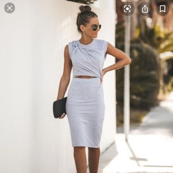 SOLD-VICI cutout midi grey stretch cotton dress